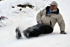 Man sledging in Andorra