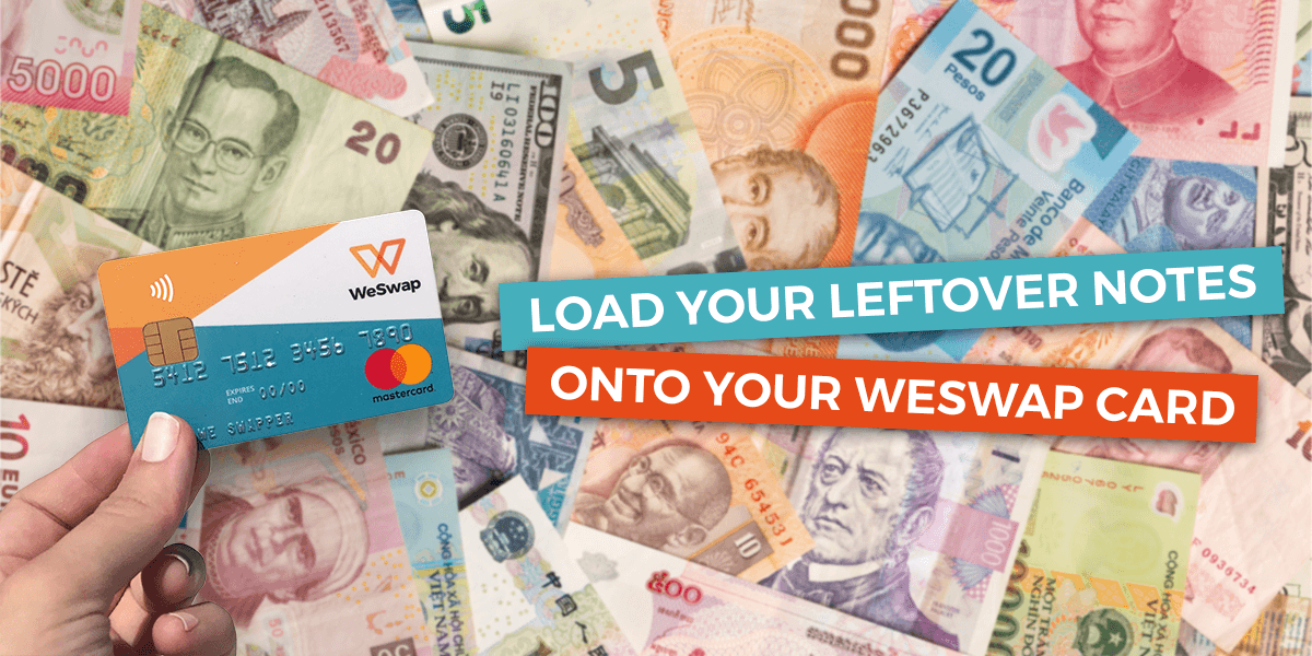 WeSwap Card on a pile of foreign currency promoting buy back