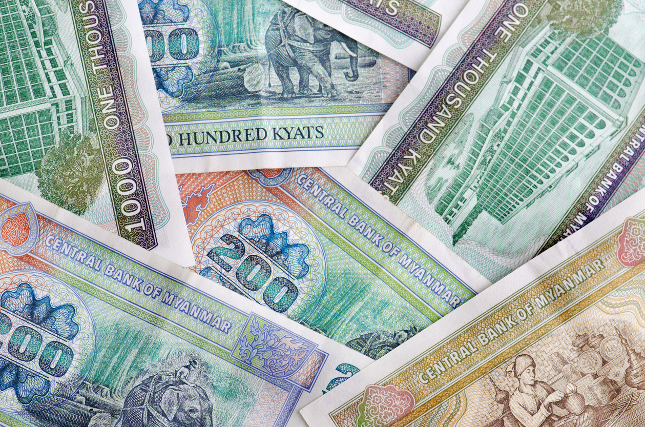 Myanmar Kyats bank notes background