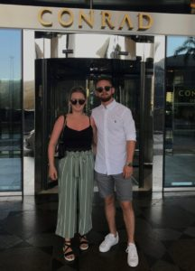 Kerry and her partner in Dubai